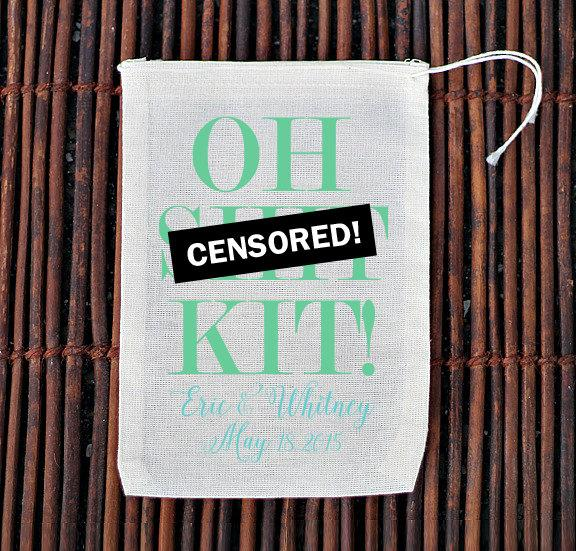Свадьба - Oh Sh*t Kit Wedding Hangover Recovery Kit- Muslin Cotton Mini Favor Bags
