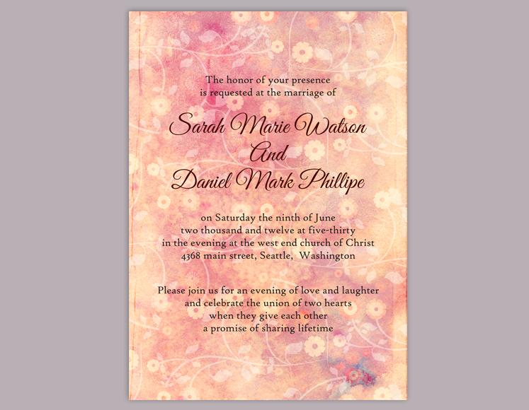Mariage - DIY Rustic Wedding Invitation Template Editable Word File Download Printable Peach Invitation Pink Invitation Vintage Floral Invitation