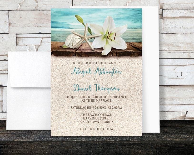 Beach Wedding Invitations And RSVP   Lily Seashells Sand   Beige Teal  Rustic Wood Dock Tropical Destination Seaside Wedding   Printed