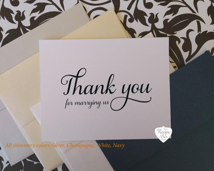 Thank You Card Wedding Gift: Thank You For Marrying Us Wedding Card Thank You Card For