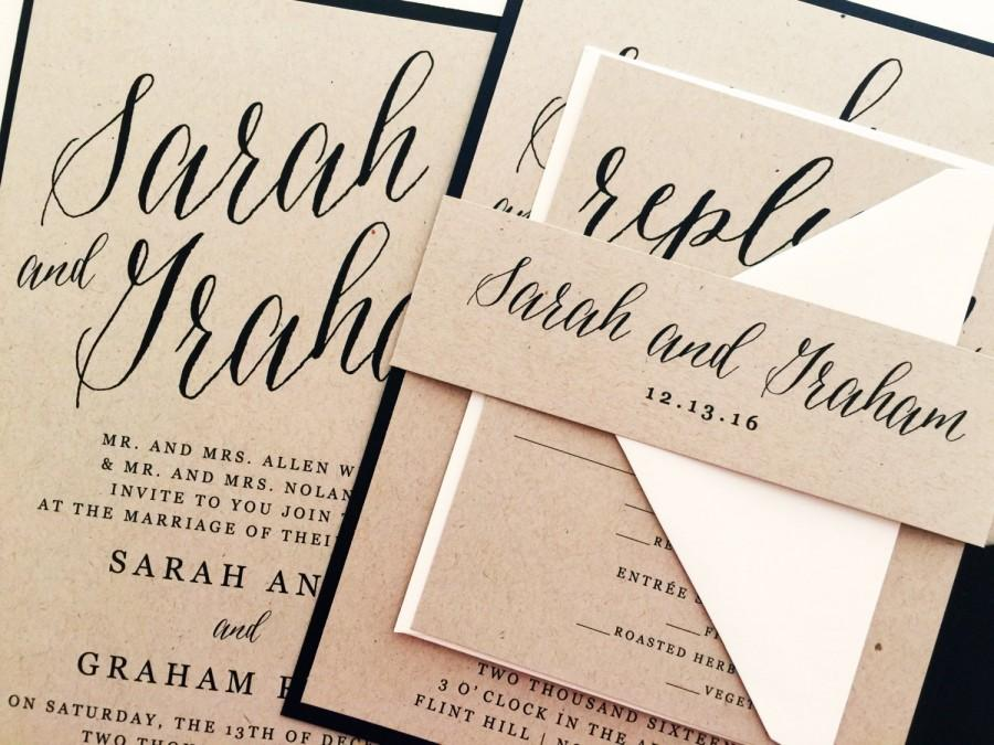 Wedding invitation wedding invite modern calligraphy wedding invitations kraft wedding invitations wedding invitation suite