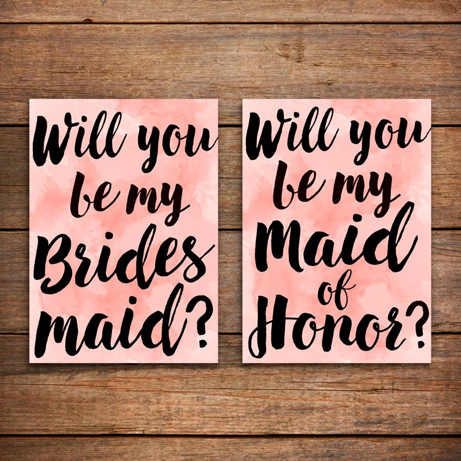 Printable Bridesmaid Card Will You Be My Bridesmaid Card ...