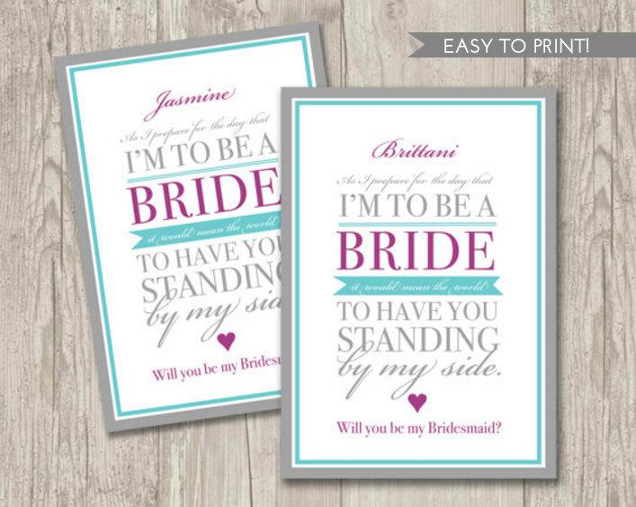 زفاف - Digital File: Will You be my Bridesmaid Card