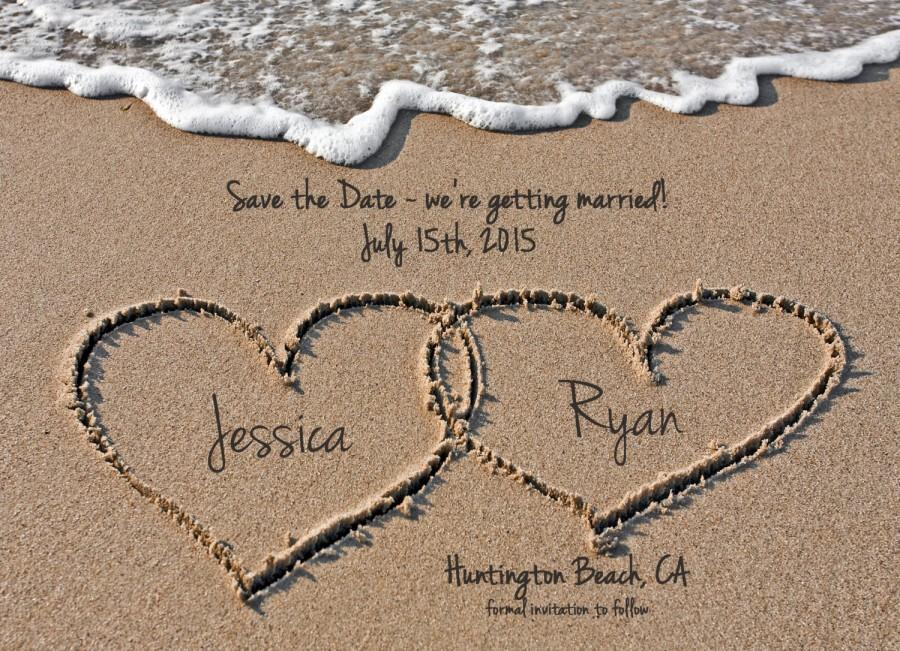 Mariage - Beach Save the Date, Destination Wedding Save the Date, Hearts in Sand, Digital File, Printable Save the Date, 5x7