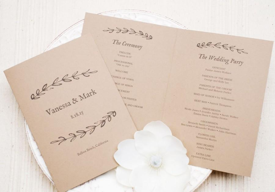 Свадьба - Printable Wedding Program Template - Kraft Paper Program, Printable Wedding Template - EDITABLE Text - Rustic Branch, 5x7 inches folded