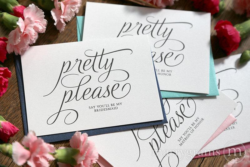 Wedding - Will You Be My Bridesmaid Cards Funny Pretty Please Maid of Honor, Wedding Party- Pink Cute Card to Ask Bridesmaid, Bridesman (Set of 6)