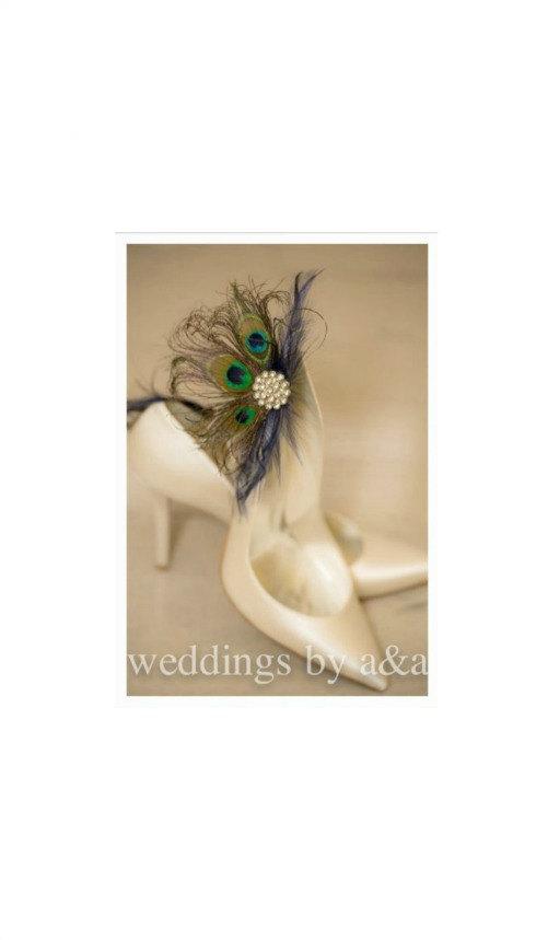 Свадьба - Wedding Bridal Shoe Clips Royal / Navy Blue & Peacock. Bride Bridesmaid, Birthday Glamour Feminine, Big Large Rhinestone Statement Metallic