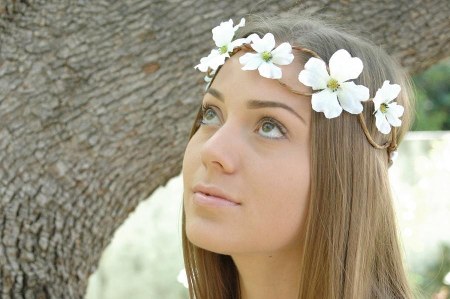 Bridal Hair Accessories Boho : Flower hair crown bridal circlet woodland wedding boho chic