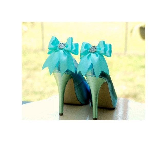 Hochzeit - Shoe Clips Sparkly Aqua Blue / White Bow. Shiny Rhinestone Satin Ribbon. Bridal Fashionista Couture, More Teal Sage Pink Black Ivory Purple