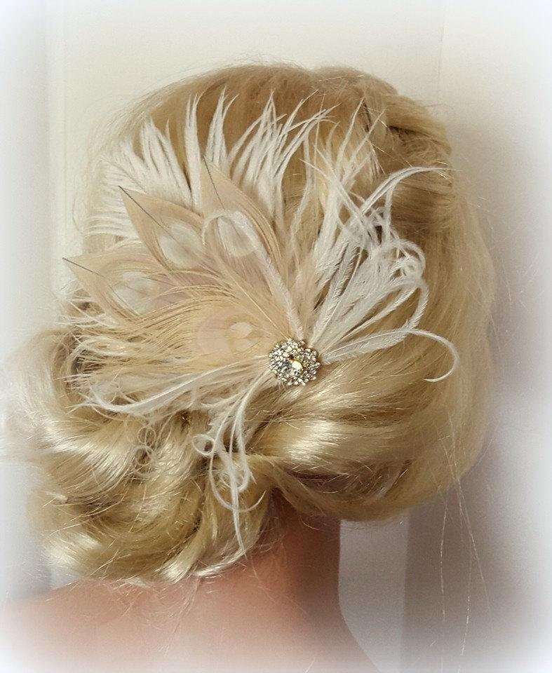 4aa9c00f3944c Champagne Ivory Feather Fascinator