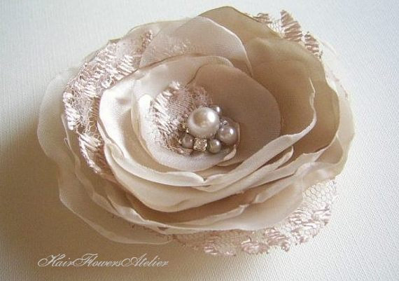 Свадьба - Beige Hair Flower Tan Hair Clip Beige BridesmaidsTan Hair Flower Beige Hair Clip Beige Wedding Accessories More for Less Bridesmaids Gift