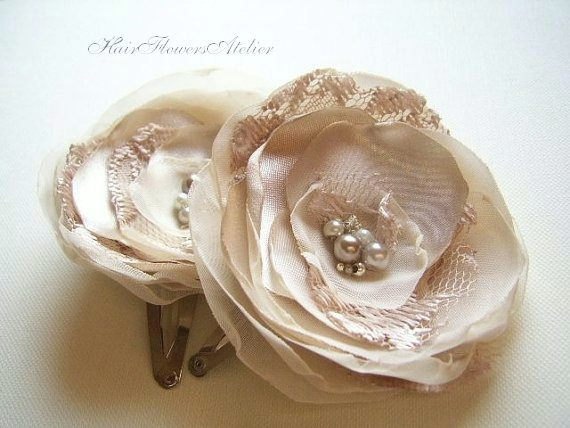 Hochzeit - Beige Hair Flowers Tan Hair Clips Beige Flower Girl Tan Hair Flowers Beige Hair Clips Hair Barrettes Beige Wedding Accessories  - Set of 2