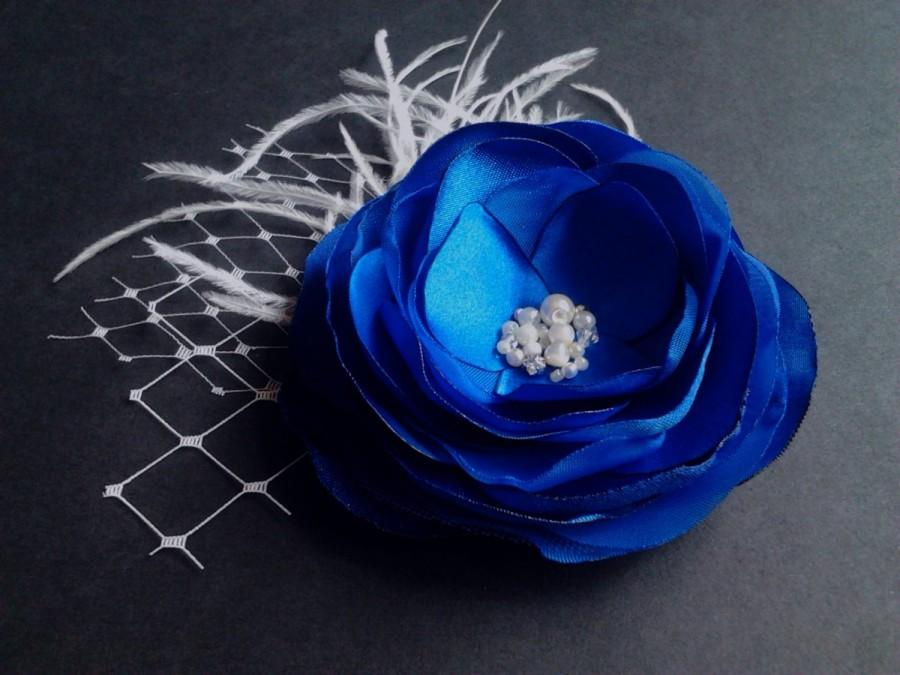 Mariage - Royal Blue Hair Clip Blue Headpiece Royal Blue Hair Flower Blue Bridal Hairpiece Blue Gift Ivory Pearls Feathers  - Blue Bridal Hair Clip