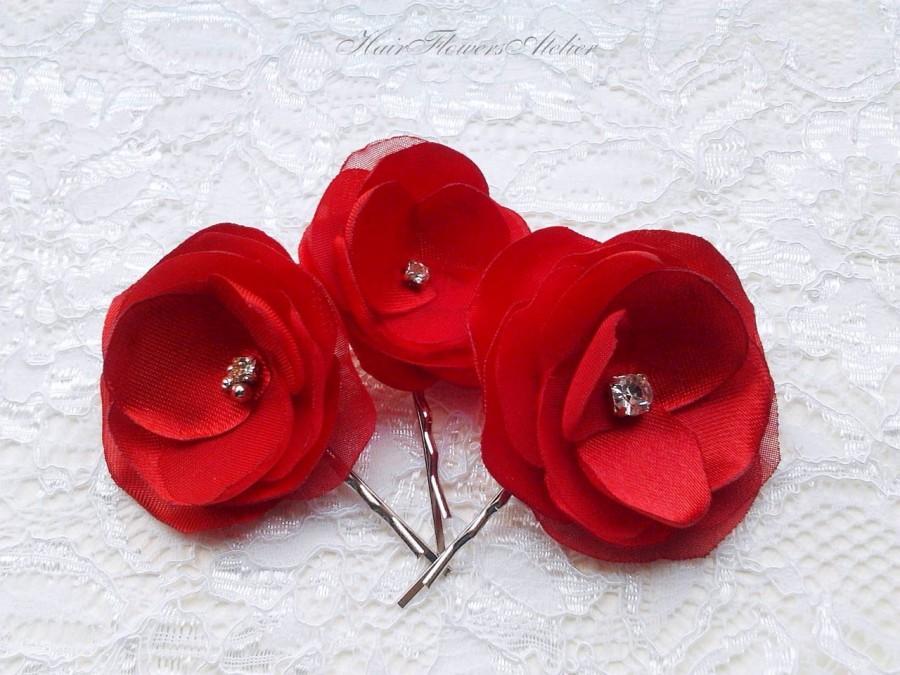 Mariage - 3 Red Wedding Hair Accessories Red Hair Flowers Red Bridal Hair Flowers Red Hair Clips Red Hairpins Christmas Hair Clips