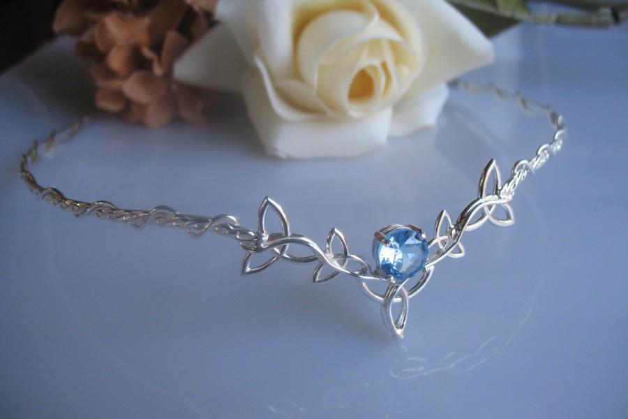 Свадьба - Celtic Trinity Knot Circlet,  Wedding Headpiece, Bridal Tiara, Aquamarine Gemstone, Sterling Silver, Handmade Aquamarine Wedding Circlet