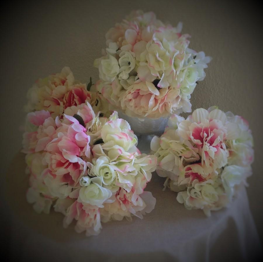 Mariage - Artificial silk peony and hydrangea flower bouquet, set of 4 in blush tones