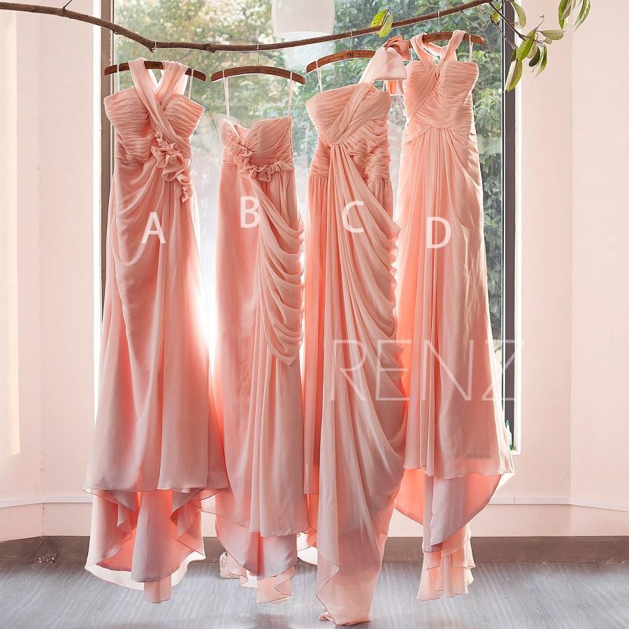 Свадьба - 2015 Mix and Match Peach Bridesmaid dress,Ruffle Draped Blush dress,Bridesmaid dress,Wedding dress,Formal,Prom Dress with a Train(F073~F077)