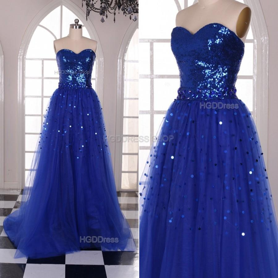 Mariage - Royal Blue Prom Dresses Glamorous Long Bridesmaid Dress Formal Dress Long Evening Party Dress With Beading Sequins