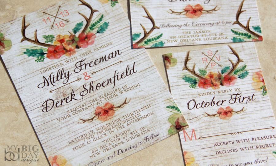 زفاف - NEW! Floral Antlers Wedding Invitation set. Watercolor antlers wedding invitations. Hunting woodlands wedding