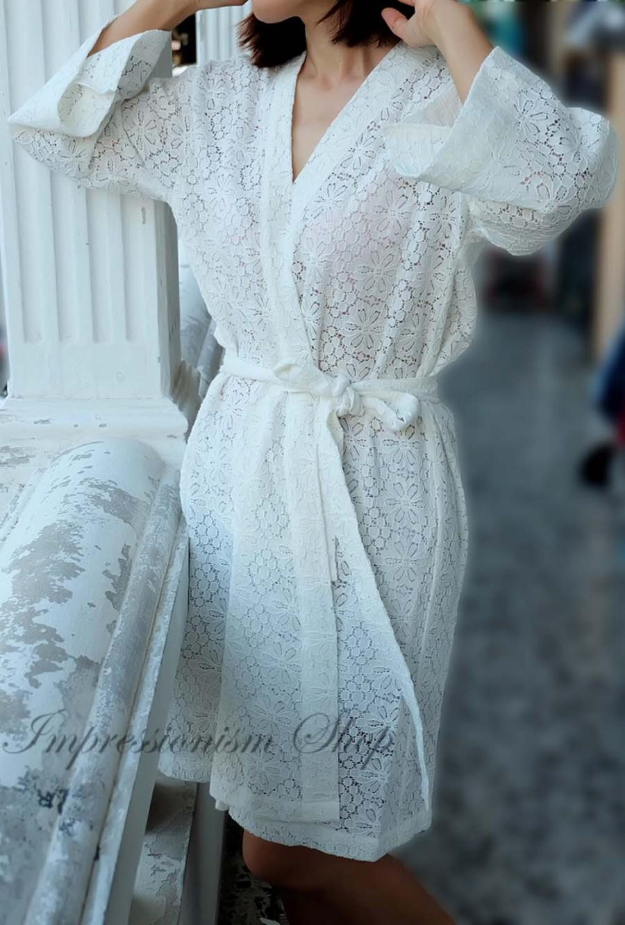 Lace Robe For Bride, Lingerie, Getting Ready, Bridal Gift ...