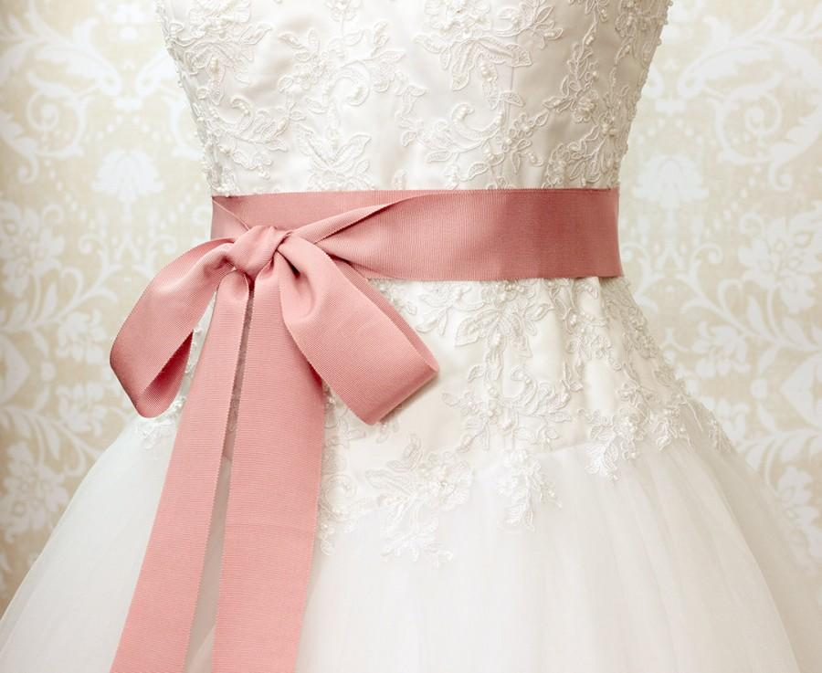 Свадьба - Dusty Rose Bridal Sash - Romantic Luxe Grosgrain Ribbon Sash - Wedding Sashes - Bridal Belt