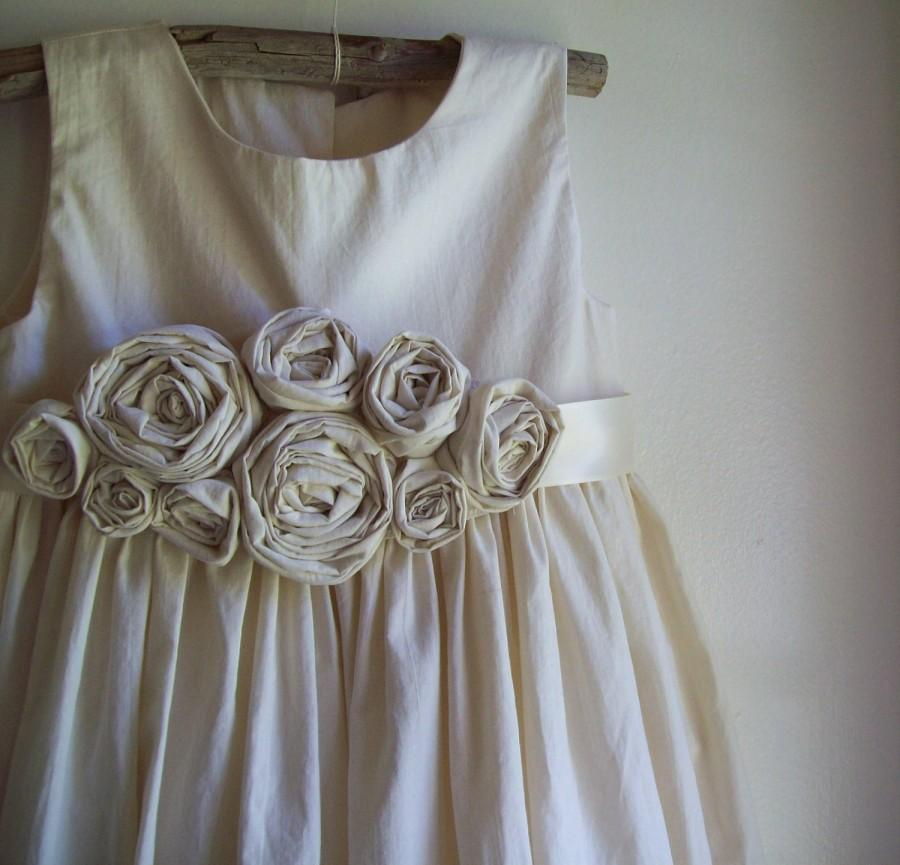 Mariage - Rustic flower girl dress, country flower girl dress, beach flower girl dress, cotton flower girl dress