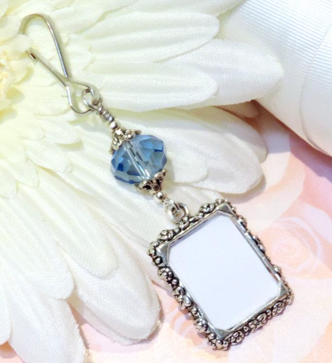 Свадьба - Wedding bouquet photo charm. Something blue for a bride. Memorial photo charm- true blue crystal. Bridal bouquet charm. Gift for the bride.