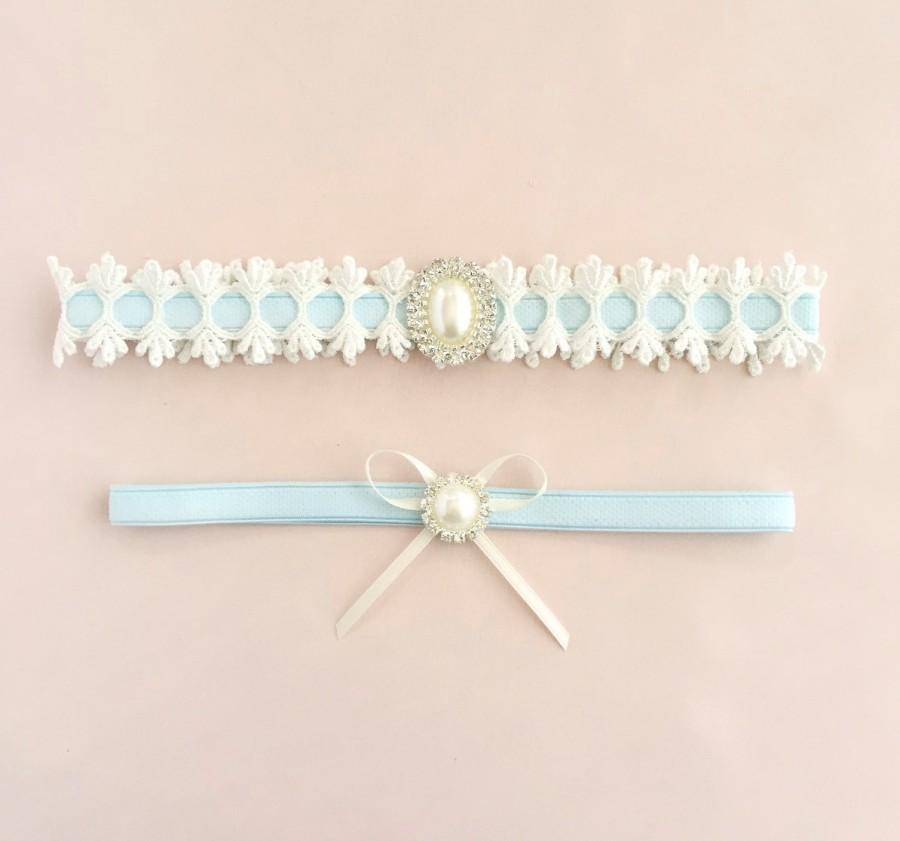 Свадьба - Something blue garter, Blue garter, Blue garter set, Bridal garter set, Pearl garter, Lace garter set, Wedding garter set, Something blue