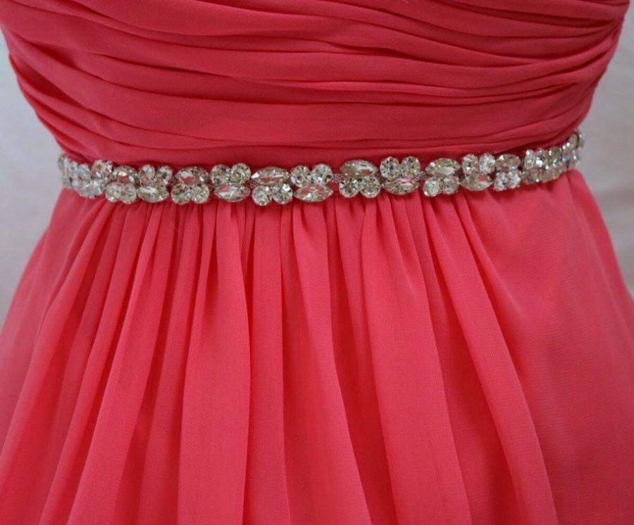 Свадьба - All the Way Around Thin Crystal Rhinestone Belt-  Bridal Belt or Bridesmaids Belt with clasp- Silver Setting - EYM B017