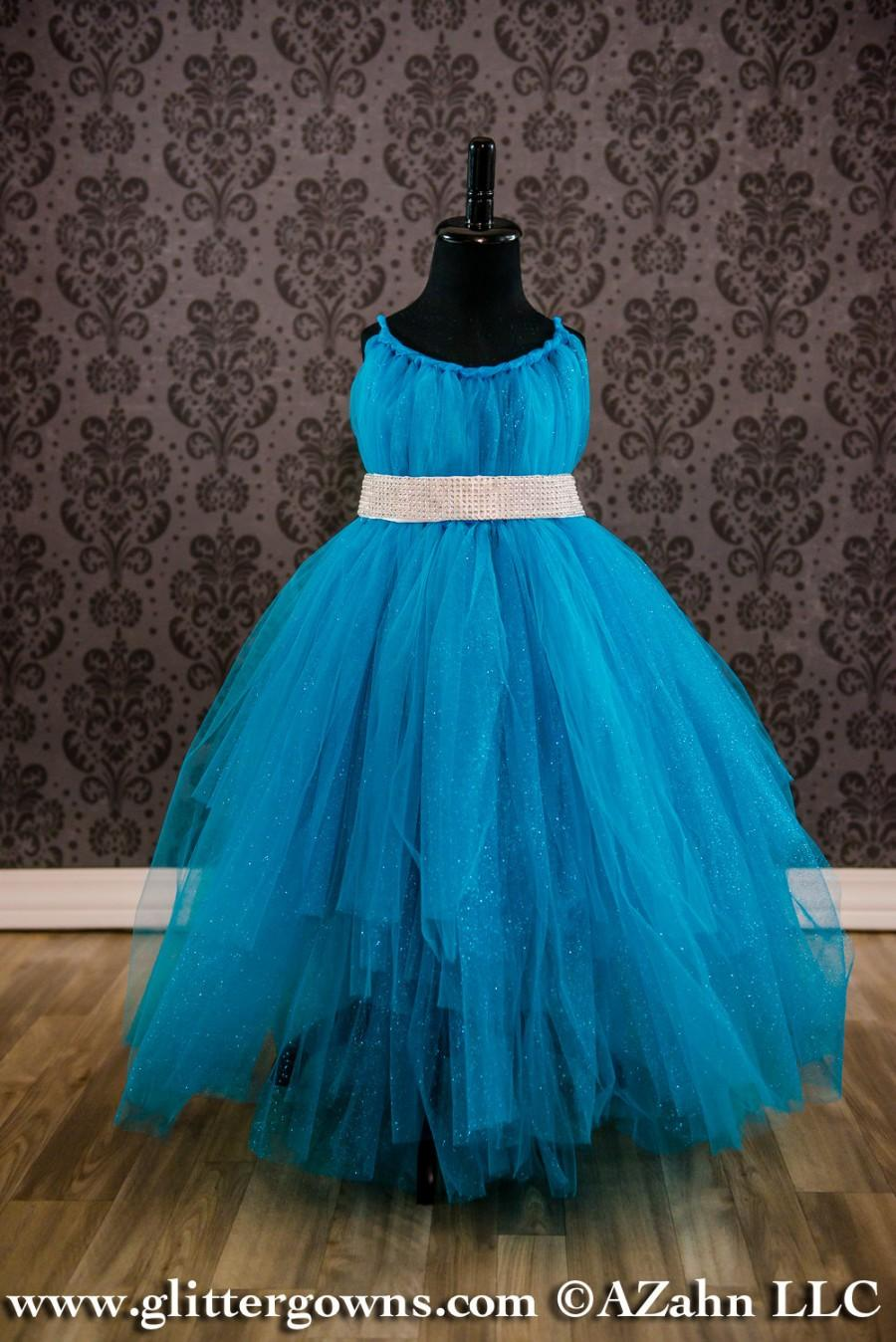 Hochzeit - Flower Girl Dress - Turquoise Sparkle Tulle, Frozen - Elsa - Princess Dress, Fairy Dress,