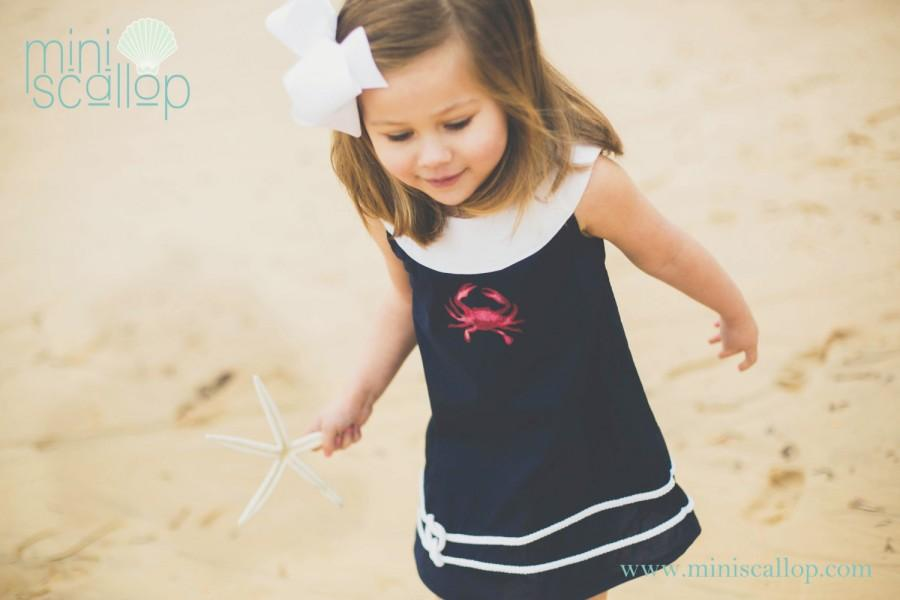 Свадьба - Girls Navy Nautical Crab Shift Dress, Toddler Nautical Dress, Kids Nautical Dress, Child Nautical Shift Dress, Beach Nautical Wedding