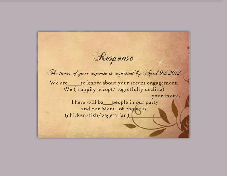DIY Rustic Wedding RSVP Template Editable Word File Instant Download
