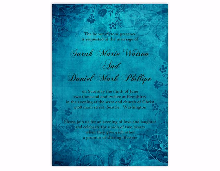 Свадьба - DIY Rustic Wedding Invitation Template Editable Word File Instant Download Printable Blue Wedding Invitation Vintage Floral Invitation