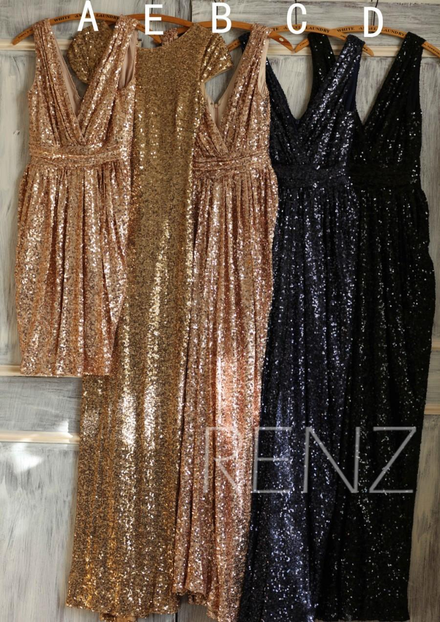 Wedding - Mix and Match Bridesmaid dress, Light Gold Black Sheath Luxury Sequin Evening dress, Metallic Sparkle Wedding dress (TQ150D/C/B/A/TQ149)
