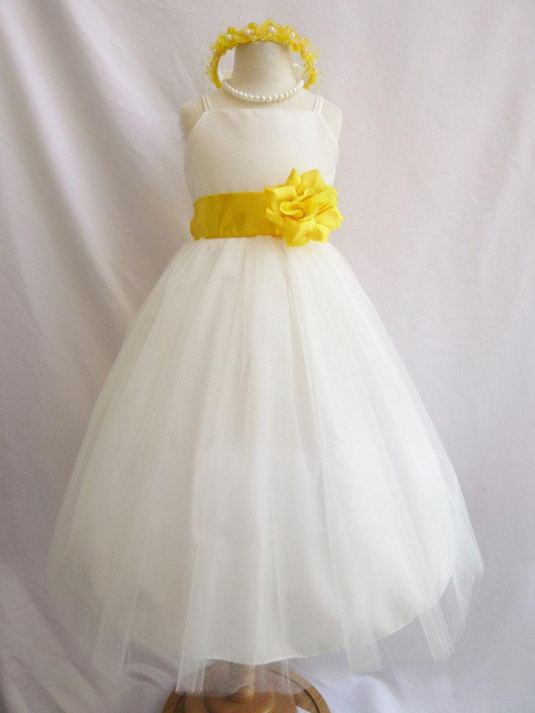 Свадьба - Flower Girl Dresses - IVORY with Yellow (FD0RB2) - Wedding Easter Junior Bridesmaid - For Baby Infant Children Toddler Kids Teen Girls