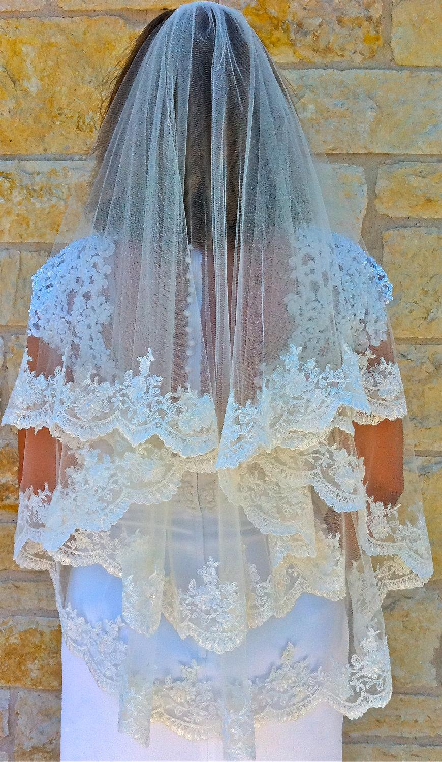 Свадьба - Two layers veil, Beaded Alencon lace - white or light ivory with scalloped  edge, fingertip length