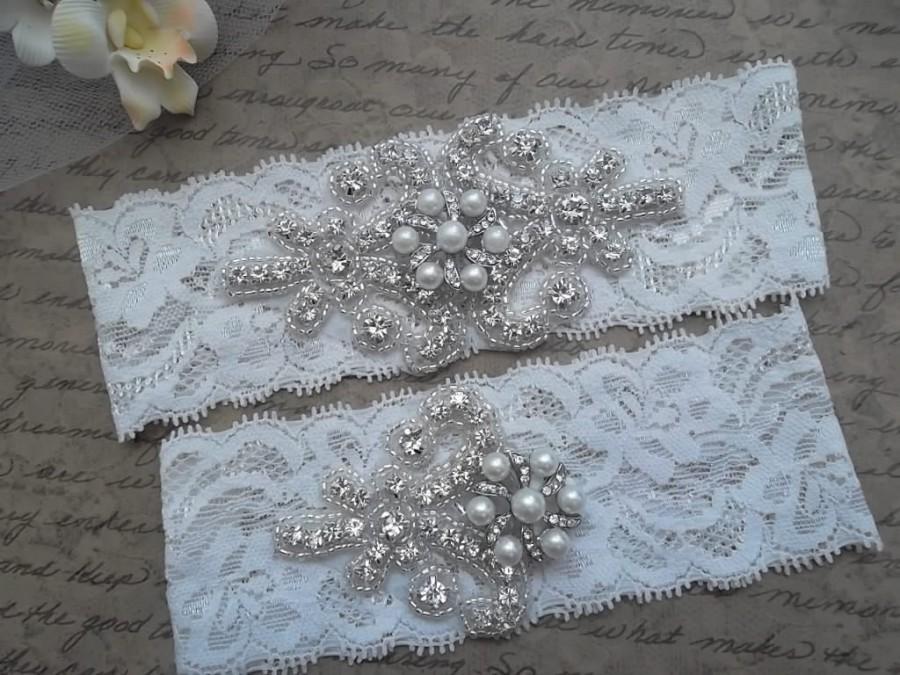 زفاف - OLIVIA Style C - Wedding Garter Set, Bridal Garter, Pearl Garter Set, Ivory Lace Garter, Rhinestone Crystal Bridal Garter,Pearl Garter Set
