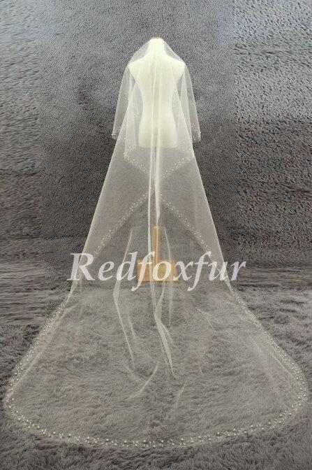 Свадьба - 1T Ivory Cathedral Veil Bride Length veil Hand-beaded Flower Wedding dress Chapel veil Wedding  Accessories