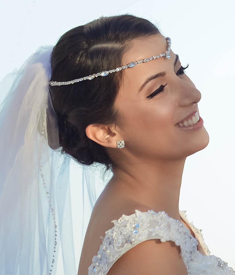 Bridal Forehead Band Bridal Headband Rhinestone Hair