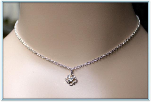 Flower Girls STERLING SILVER Necklace Dainty STERLING Flower