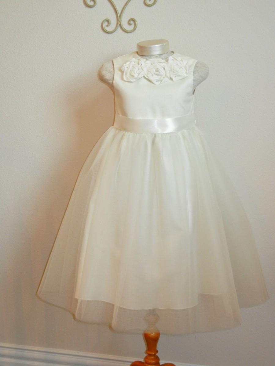 Свадьба - Ivory Flower Girl Dress, Tulle Shabby Chic, Organic Cotton Girl Dress with tulle overlay skirt