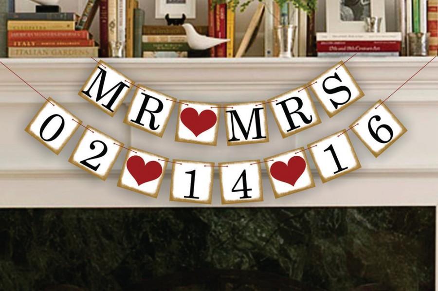 Свадьба - Mr Mrs Save The Date Banner - Wedding Photo Prop - Mr Mrs Save The Date Sign - Wedding Banner - Wedding Garland
