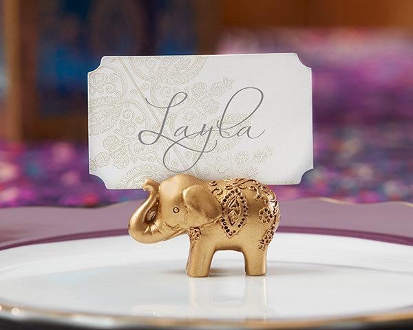 زفاف - Gold Wedding Placecard Holders (Set of 12 Gold Wedding Favors; Elephant Wedding Decor