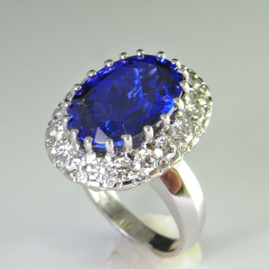 Unique Engagement Ring e A Kind Ring Huge 10 Carat Tanzanite Diamond Rin