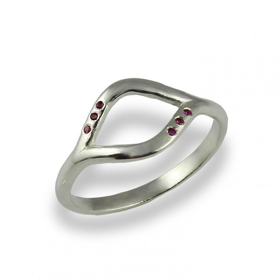 زفاف - Ruby Curved Ring, Ruby Engagement Ring, Silver, Women's Wedding Band, Dainty, Stacking Ring, Promise, Ruby Ring, Infinite Ring, Lucky Ring