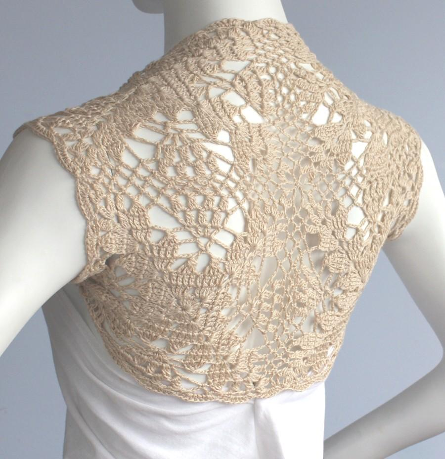 Hochzeit - Golden Champagne Bamboo Bolero Eco-Friendly hand knit crochet Shrug Bridal Wedding Plus Size XL