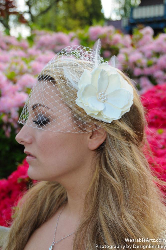 Свадьба - Bandeau Birdcage wedding Veil and Fascintator (2 items) Wedding Reception