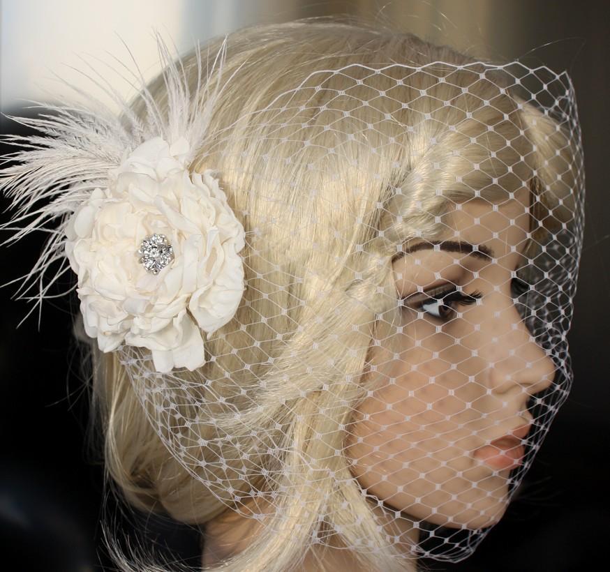 Свадьба - Bandeau Birdcage Wedding Veil and detachable Fascinator Vintage inspired Blusher hair flower in ivory or white