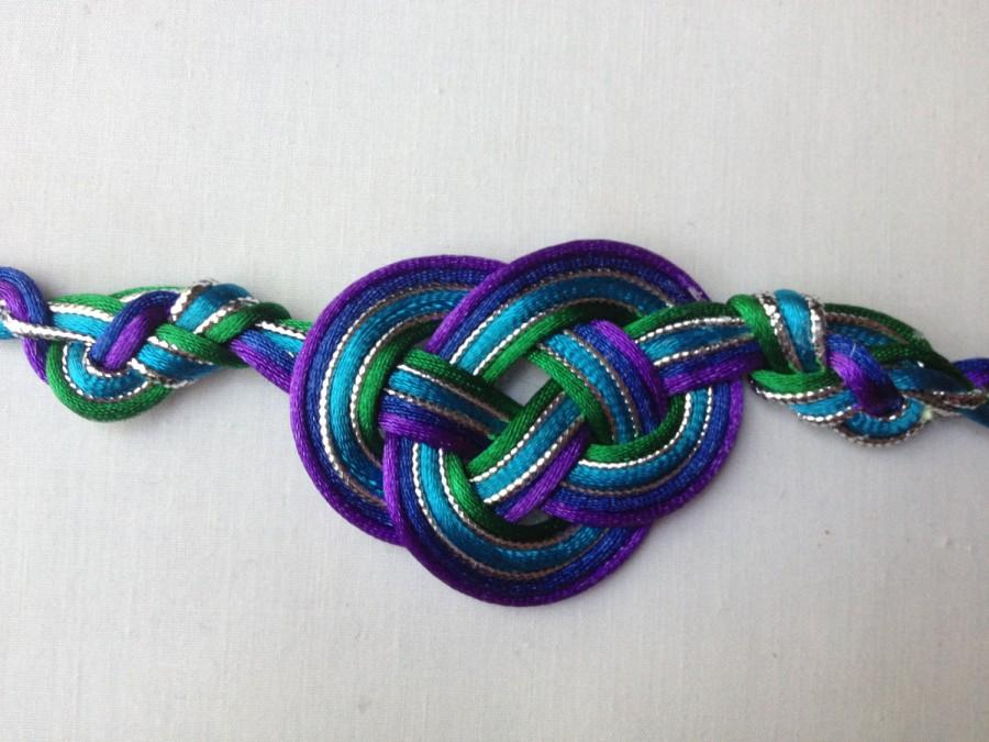 Свадьба - Lindsay's Proud Peacock Handfasting Cord (5 satin cords, 2 metallic cords)
