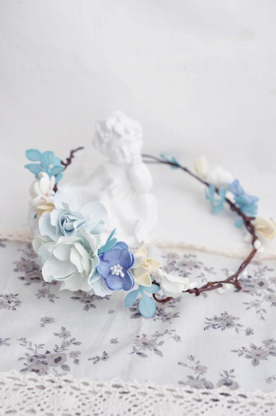 Blue Crown Wedding Head Wreath Boho Hair Accessories Blue Bridal